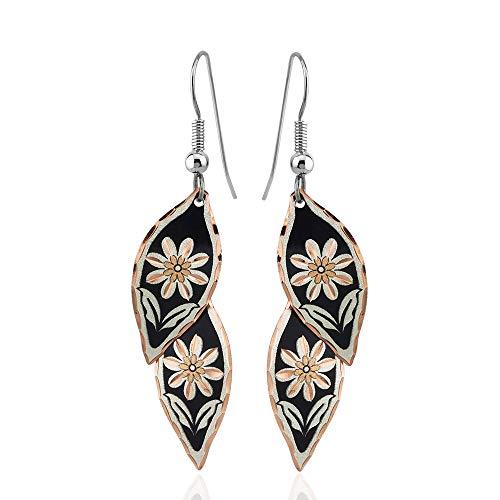 Pendientes de plumas y hojas en acuarela hechos a mano de cobre, inspirados en la naturaleza para mujeres y niñas, dos pendientes de colores cansados (dos tonos + tres tonos) negro