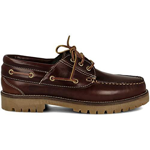 PAYMA - Zapatos Náuticos Timber de Piel Seahorse Engrasada 3-Ojales. Piso Caramelo, Negro o Goma Track. Cierre Cordones o Velcro. Colores Marrón, Azul o Negro