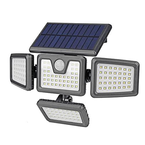 Fiorky Luci Solari Esterni Sensore di Movimento 141/181LEDs 4 Teste Solari Luci Da Parete Impermeabile IP65 Inondazione Illuminazione Luminosa Porta Anteriore Capannone Luci Giardino Casa
