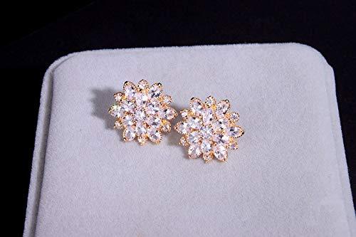 Neaer Pendientes de joyería de boda de lujo transparente AAA Zircón Pendientes elegantes de flor para mujer, regalos personales, pendientes de tuerca (color de metal: color oro amarillo claro)