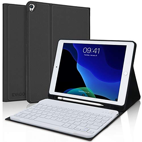KVAGO Funda con Teclado para Nuevo iPad 10.2, Bluetooth Español Teclado para iPad 10.2 2020(8ª Gen)/ iPad 10.2 2019(7ª Gen)/iPad Air 3/iPad Pro 10.5, Smart Cover con Auto-Sueño/Estela,Negro