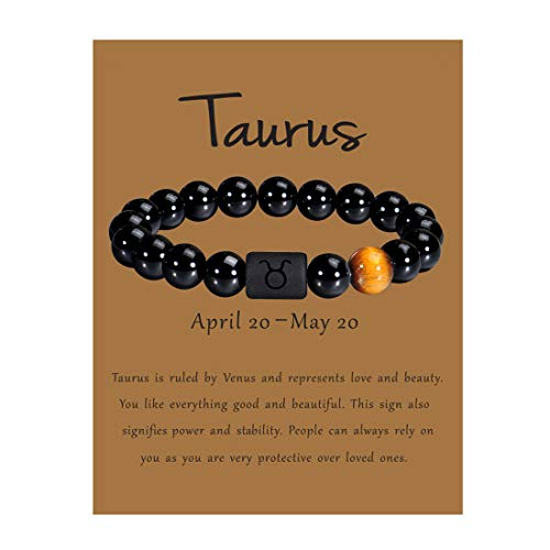 VLINRAS Zodiac Taurus Bracelet for Men Women Taurus Gifts Natural Black Onyx Stone Zodiac Charm Bracelet Constellation Horoscope Jewelry