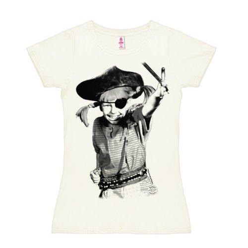 Logoshirt Pippi Langstrumpf - Pirat T-Shirt Damen - altweiß - Lizenziertes Originaldesign, Größe S