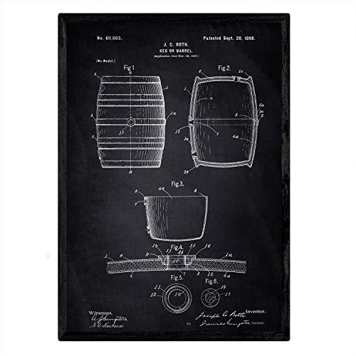 Nacnic Poster con Patente de Barril. Lámina con diseño de