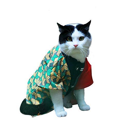 JSVDE Pet Costume Cat Small Dog Cosplay for Anime Demon Slayer: Kimetsu no Yaiba (Small, Tomioka Giyuu)