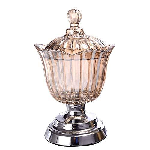 Tarro de césped de cristal multifuncional con tapa de la placa de frutas secas Caja de joyería de cristal grande Decoración del tanque de almacenamiento (color: Plata) ( Color : Silver , Size : - )