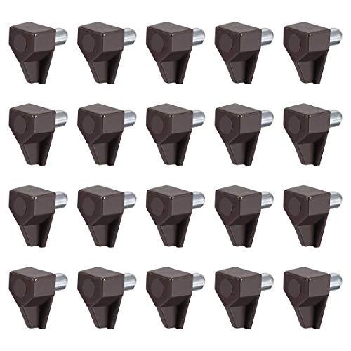 YeVhear - Lote de 100 tacos de soporte para estante de plástico, pinzas de 5 mm, de acero para estante Hoder, estilo de soporte marrón para suministros de estantería