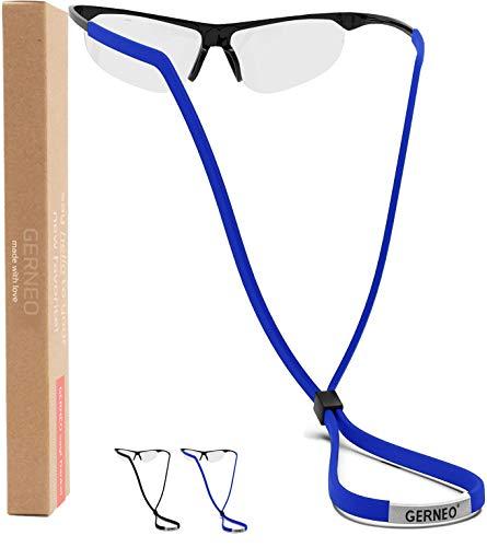 GERNEO® - DAS ORIGINAL - Premium Brillenband & Sportbrillenband - extrem zuverlässiges Brillenband für Sportbrillen, Sonnenbrillen, Lesebrillen – Wasserfest (1x Tiefschwarz & 1x Königsblau)