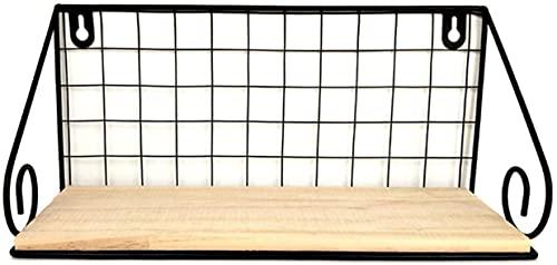 HJW Praktische Opbergrek Metalen Raster Drijvende Opbergrek Opknoping Entryway Plantenpot Fotolijst Keuken Display 1Huiyang-01020, Zwart, Groot