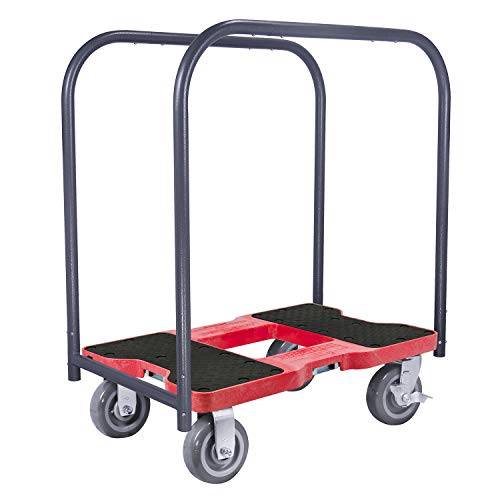 SNAP-LOC 1800 LB Super-Duty Panel CART Dolly RED with Steel Frame, 6 inch Casters, Panel Bars and Optional E-Strap Attachment