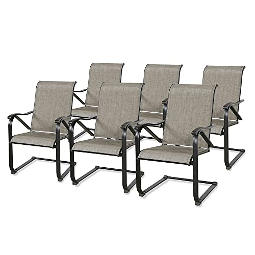 Patio C Spring Motion Dining Chairs Armchair Outdoor Mesh Fabric Rocking Chairs Set of 6 with High Back
