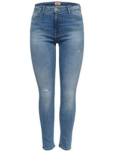ONLY Damen Onlblush Mid Sk Ank Raw Rea333noos Jeans, Light Blue Denim, XL / 30L