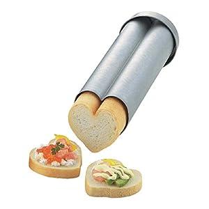 タイガークラウン パン型 シルバー 71×220×71mm ハートブレッド スチール アルミメッキ カナッペ用 レシピ付 2377
