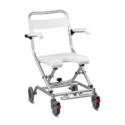 KosmoCare Premium Imported Light weight Aluminum Folding Shower Wheelchair with Front Cut