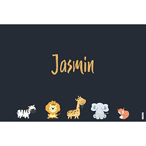 schildgetier Jasmin Türschild Namensschild Jasmin Geschenk mit Namen und süßen Tier Motiven 30 x 20 cm Dekoschild Schild mit Tieren