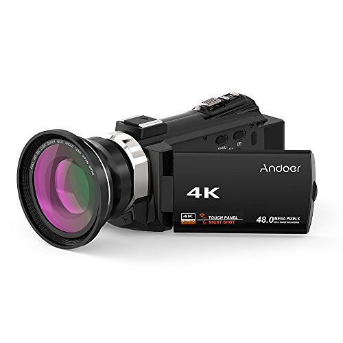 4K Camcorder, Andoer 1080P 48MP WiFi Digital Video Camera Recorder with 0.39X Wide Angle Macro Lens Novatek 96660 Chip 3inch Capacitive Touchscreen Night Sight 16X Zoom Support External Microphone