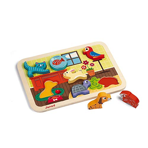 Janod J07024 Chunky Holzfiguren-Puzzle 7 Teile, Haustiere