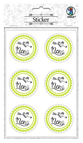 URSUS sticker bruiloft, 24 stickers met tekst Mr & Mrs, zelfklevend en veredeld met folie Menu. multicolor