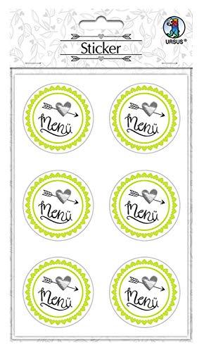 URSUS sticker bruiloft, 24 stickers met tekst Mr & Mrs, zelfklevend en veredeld met folie Menu. multicolor