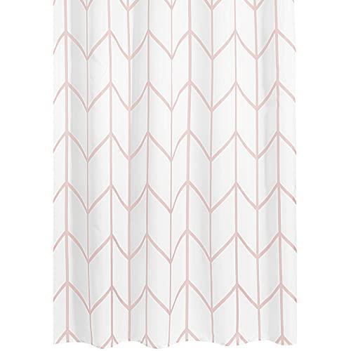 mDesign Duschvorhang – wasserabweisender Spritzschutz mit attraktivem Muster – leicht zu pflegener Badewannenvorhang – hellpink/weiß