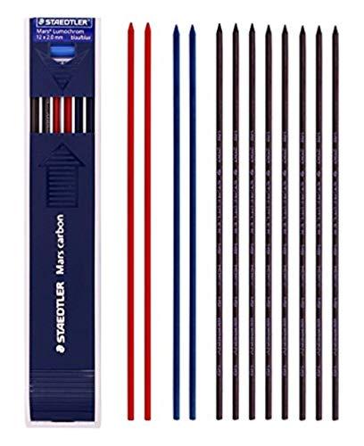 Staedtler Mars Carbon Lead 12 x 2 mm Color Mix (8 HB + 2 Blue + 2 Red) & Additional