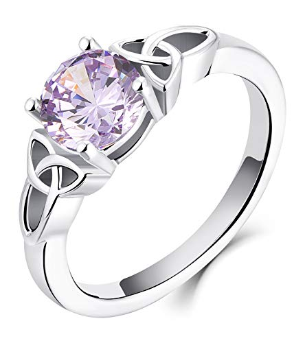 YL Celtic Knot Rings for Women 925 Sterling Silver Created Alexandrite 18k White Gold Plated Statement Rings-size10