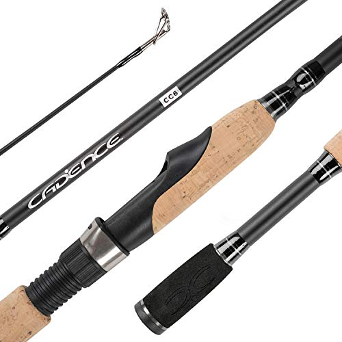 Cadence Spinning Rod,CC6-24 Ton Carbon Fiber Fishing Rod,Ultra Smooth Stainless Steel Guide,Stable&Durable Fuji Reel Seat,Two-Piece Rod,Comfortable EVA Handle,Strong and Sensitive Action Rod