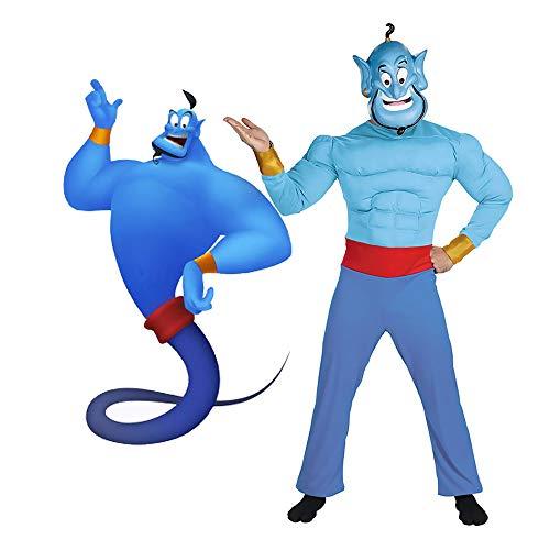 LuBHnna Disfraz de Genio de Aladdin, La lámpara mágica Jinn Djinni Cosplay con máscara Azul Halloween Aladdin Genie Cosplay para niños