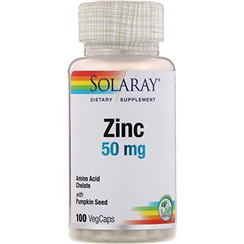 Zinc 50mg Solaray 100 Veg Cap - Pack of 3