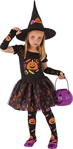 Rubies- Disfraz infantil bruja Candy, M (5-7 años) (Rubie