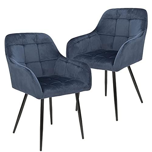 BlueOcean Lot de 2 chaises de cuisine en velours capitonné avec accoudoirs et dossier et pieds en métal pour chambre à coucher