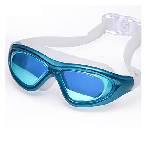 Adulto Profesional Prescripción Natación Gafas Marco Grande Chapado Antivuelco Nadar Piscina Gafas Hombres Mujeres Gafas (Color : Sky Blue)
