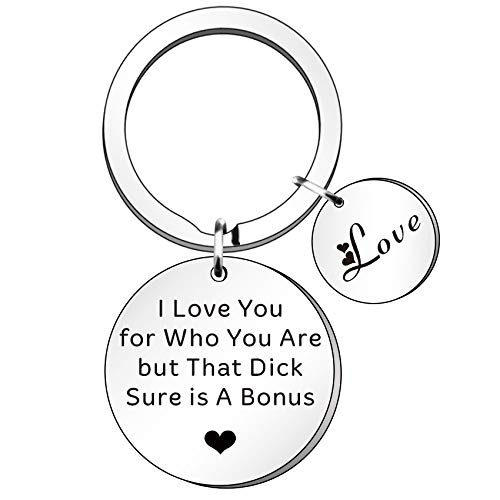 HULALA Funny Couple I Love You Keyring Valentines Gift for Him Husband Boyfriend Birthday Wedding Anniversary Keychain for Men from Wife Girlfriend