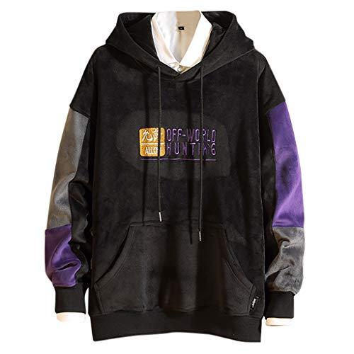 Fenverk Herren Basic Kapuzenpullover Sweatjacke Pullover Hoodie Sweatshirt Streetwear Drew Peak Plv Hood Jacob - Große Tasche(A Schwarz,XXL)