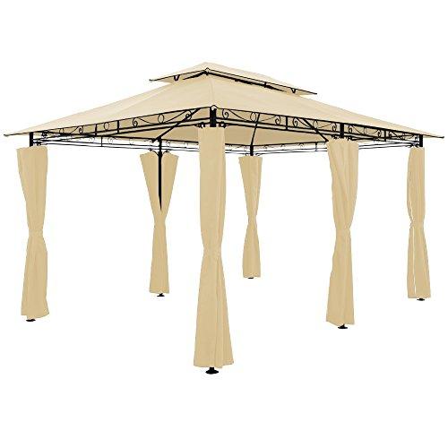 Deuba Gazebo da giardino Topas 3x4 pareti laterali doppio tetto poliestere tendone padiglione esterno patio feste matrimonio beige