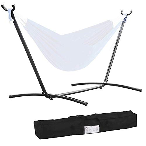 9ft Hammock Stand Portable Heavy Duty 2 Person Steel Stand Only for Outdoor Patio Backyard Indoor Bedroom with Carrying Case, Weather-Resistant Finish Swing Stand, 450LBS Weight Capacity, Black