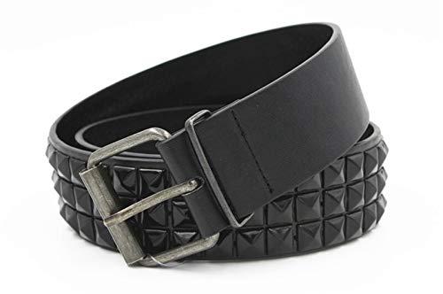 Del Remache Cinturón Hombres Mujeres Tachonado De La Correa Del Punk Rock Con Hebilla #, (Belt Length : 115CM, Color : Black belt)