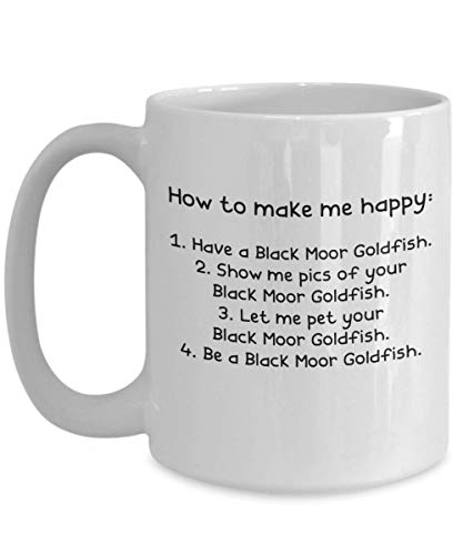 Black Moor Goldfish Gifts - Gift Mug - White 11oz 15oz Ceramic Tea Coffee Cup - Perfect For Travel And Gifts