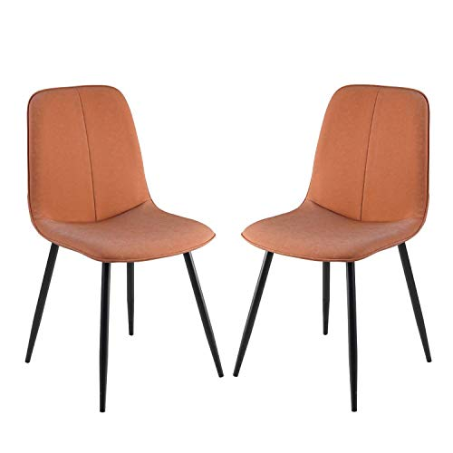 Modern Faux Leather Dining Chairs Back Padded Kitchen Chairs with Black Metal Legs Easy to Install for Dining Room Living Room Office and Lounge (Color : Orange, Size : 2pcs)