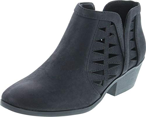 Soda Women's Perforated Cut Out Stacked Block Heel Ankle Booties Black 5.5