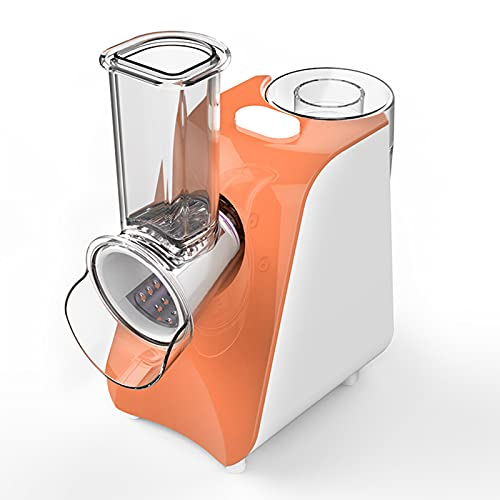 KHDJ Electric Rotary Cheese Grater Vegetable Mandoline Slicer Fruit Slicer Rotary Cheese Grater Grater Grater with 5 Stainless Steel Rotary Knives,Orange