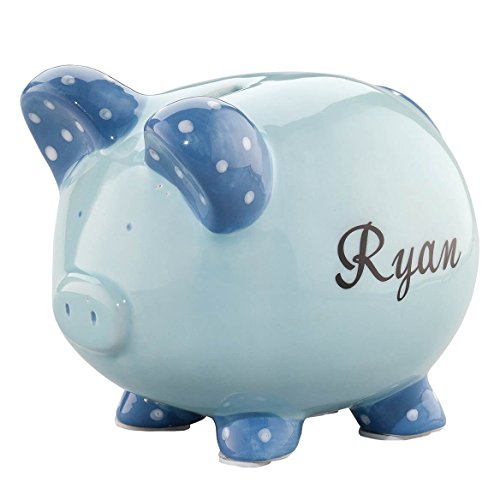 Personalized Ceramic Kids Piggy Bank by Miles Kimball - Blue