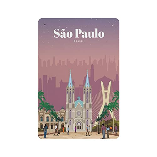 Cartel de estaño de Sao Paulo Brasil Retro Decoración de pared Tienda Garaje Familiar Jardín Bar Restaurante Hotel