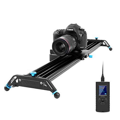 GVM Kamera Slider motorisiert, 80cm Schienen Dolly Rail Kamera Schieber aus Aluminiumlegierung mit Tracking Aufnahme, 120° Panoramaaufnahme und Zeitrafferfotografie für die DSLR Kameras