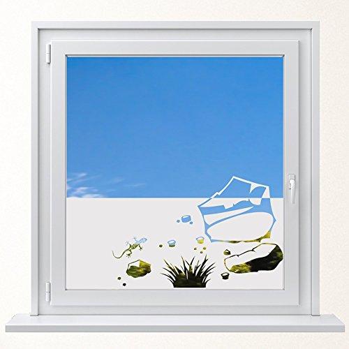 DD Dotzler Design 6416-5 individuelle Sichtschutzfolie Fensterfolie Milchglas Gecko Felsbrocken Grasbüschel