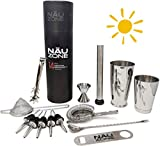 Professional Bartender Kit (14-Piece) | Bartending Kit Includes Elegant Stainless Steel Weighted Bottom Cocktail Shakers with Premium Bar Tools and Bar Set Accesssories | Deluxe Gift Packaging