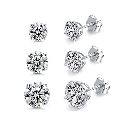 Sterling Silver Stud Earrings Set for Women Girls Men- 3 Pairs Round Cut Cubic Zirconia CZ Studs Simulated Diamond Hypoallergenic Cartilage Tragus Earrings (6mm, 7mm, 8mm)