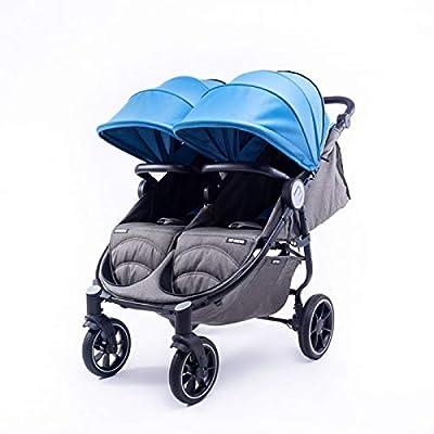 Silla Gemelar Easy Twin 4 Chasis Negro Baby Monsters Plástico de Lluvia y Barras Frontales incluidas Color Atlantic