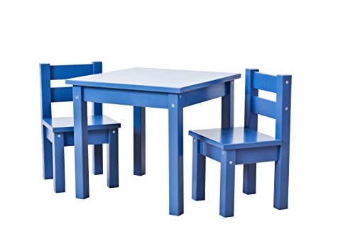 Hoppekids mit 1 Kindertisch und 2 Kinderstühle, teilmassiv sehr stabil, viele Farben, Holz, blau, 55 x 50 x 47 cm