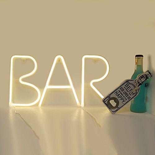 GUOCHENG Neon BAR-Illuminated Marquee Sign LED Alphabet Word Sign Decorative Motif Neon Light, Pre-Lit Pub Bar Sign Light Bar Accessories for Home Pub(Warm White)